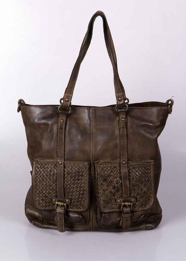 Vintage Republic leren tas met gevlochten kleppen