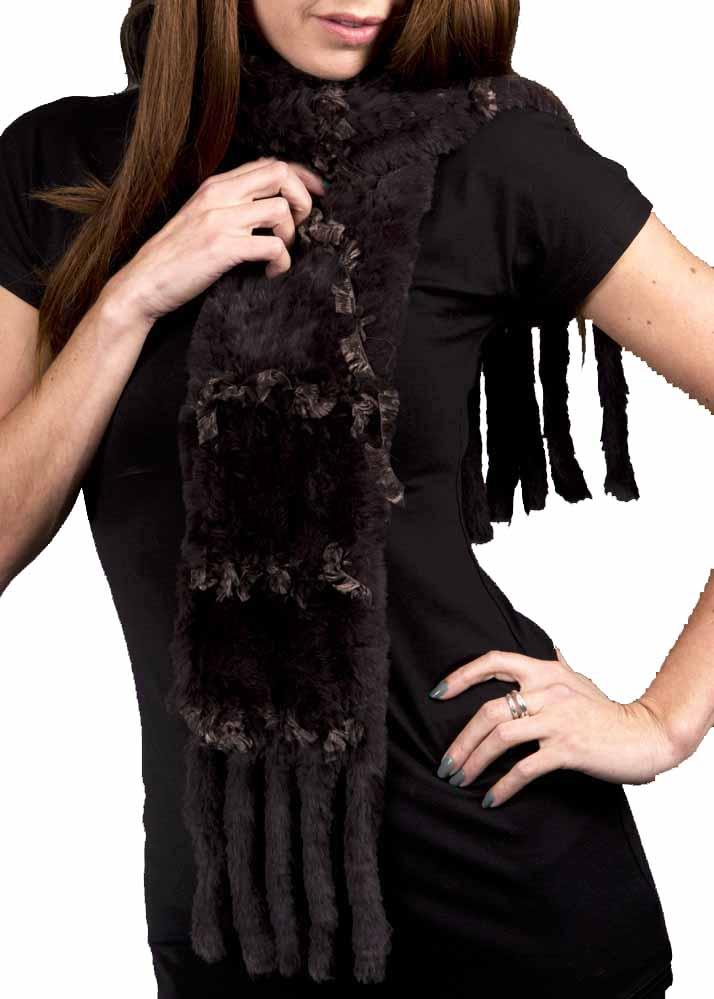 Bontsjaal met zijde in bruin, zwart, ecru