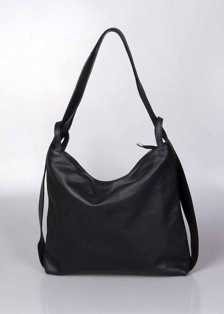Grote leren schoudertas ook te gebruiken als rugzak